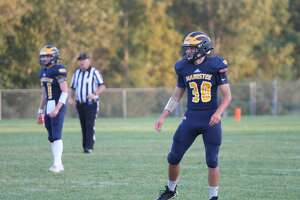 Manistee junior Ben Ceplina readies himself for the next play against Mason County Central.