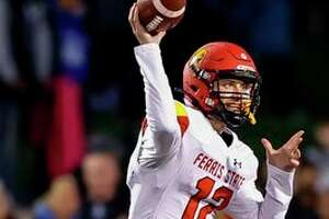 Ferris quarterback Jared Bernhardt gets set to deliver a pass against Grand Valley on Saturday night. (Photo courtesy of Ferris Athletics)