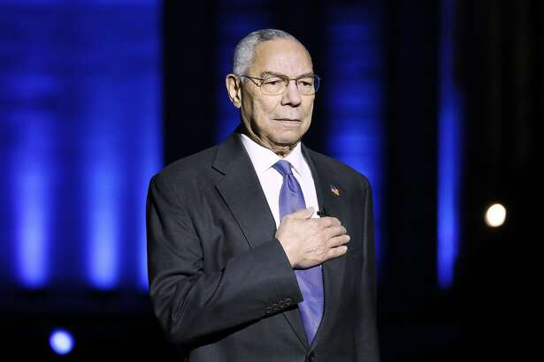 """In this image released on May 28, 2021, Gen. Colin Powell (Ret.) on stage during the Capital Concerts' """"National Memorial Day Concert"""" in Washington, DC."""