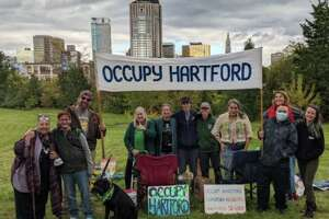 A reunion of Occupy Hartford participants at Broad Street and Farmington Avenue in Hartford, Conn., held Sunday, Oct. 17, 2021.