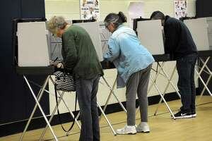 Brookfield residents voting Tuesday, Feb. 27, 2018, on the $14.7 million library project at the Huckleberry Hill School polling place.