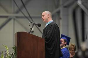 Principal Marc Balanda speaks during the Brookfield High School 2018 Graduation, Saturday, June 23, 2018, at The O'Neill Center, Western Connecticut State University, Danbury, Conn.