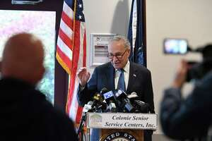 Senate Majority Leader Charles Schumer announces assistance for people struggling with heat bills amid soaring oil and gas prices on Monday, Oct. 18, 2021, during a press conference at the Colonie Senior Center in Colonie, N.Y.