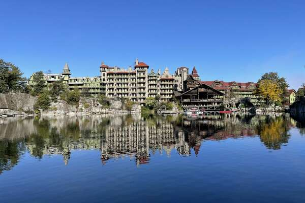 A view of the Ulster County Mohonk Mountain House, with the glacial Lake Mohonk in the foreground, on an Oct. 6 visit, by Janet and Jung-Wen Chen