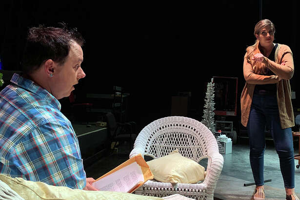 """Krystal Smith Sanchez, right, and Donny Avery rehearse s scene from """"Other Desert Cities"""" at Beaumont Community Players. Photo by Andy Coughlan"""