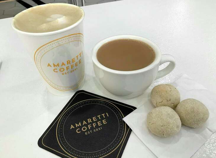 Dirty Chai Latte (from left), Authentic Indian Chai and Amaretti Cookies from Amaretti Coffee