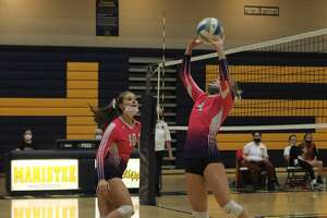 Manistee rallies from two sets down to defeat Mason County Eastern on Oct. 18.