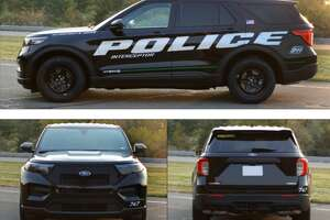 Pictured is the 2022 Ford Police Interceptor Utility Hybrid, the fastest police vehicle available.