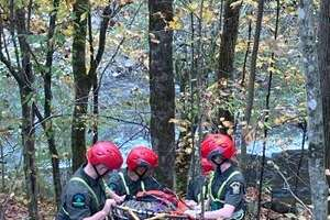 As well as conducting searchers, forest rangers recently practiced rope rescues.