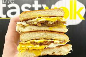 The Pig is the most popular seller at the Tasty Yolk, a classic construction with bacon, egg and American cheese.