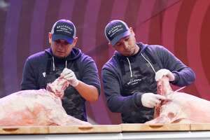 SAN FRANCISCO, CA - AUGUST 12: Butchers from Belcampo Meat Co. host 'Breakdown Breakdance' on the Gastro Magic Stage during the 2018 Outside Lands Music And Arts Festival at Golden Gate Park on August 12, 2018 in San Francisco, California. (Photo by FilmMagic/FilmMagic)