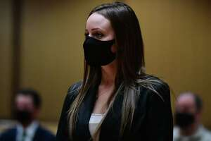 Norwalk police officer Sara Laudano, who was arrested in January for drinking on the job with another officer, appears to be arraigned Wednesday, February 17, 2021, at Stamford Superior Court in Stamford, Conn.