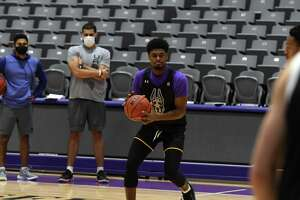 University at Albany guard and forward, Gerald Drumgoole works with teammates during practice on Tuesday, Oct. 19, 2021, at SEFCU Arena in Albany, N.Y.