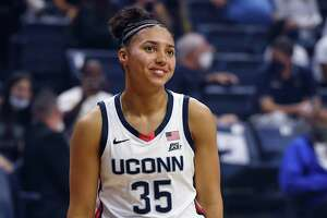 UConn's Azzi Fudd during the men's and women's teams First Night celebration Friday. Fudd was the unanimous choice as the Big East preseason freshman of the year.