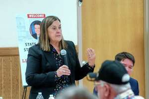 State Sen. Jil Tracy answers questions Monday during a town hall meeting in Jacksonville. The event hosted by state Sen. Steve McClure also included state Sens. Win Stoller and Neil Anderson.