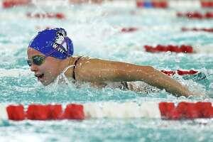 Darien's Meg Erickson competes in the 200 meter IM event during the high school girls swim meet between Darien and Greenwich at Greenwich High School in Greenwich, Conn. Thursday, Oct. 15, 2020.