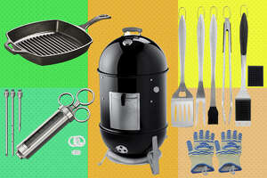 Cave Tools - $21.99     Lodge Cast Iron Grill Pan - $19.90     Extreme Heat Resistant BBQ Oven Safety Gloves - $15.89     Weber 18-inch Smokey Mountain Cooker - $349.00     6pc Heavy Duty Grill Accessories - $23.99
