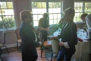 Mayor Elinor Carbone spoke to members of the Torrington-Winsted Rotary Club during their weekly meeting at Green Woods Country Club. Carbone, elected in 2013, is seeking a third term in office. She is pictured with Cindy Oneglia of Torrington.