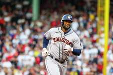 Houston Astros designated hitter Yordan Alvarez (44) rounds third after hitting a solo home run to give the Astros a 1-0 lead during the second inning in Game 5 of the American League Championship Series on Wednesday, Oct. 20, 2021, in Boston.