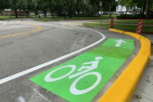A new intersection at Rice and Sunset boulevards features a dedicated bike lane.