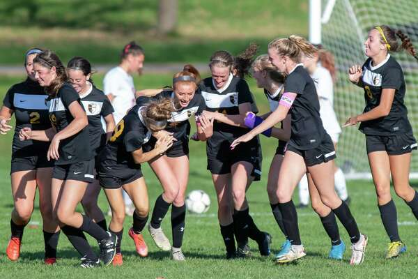 Ballston Spa celebrates a goal by senior Maddie Wania during a Class AA sectional matchup at against Guilderland at Ballston Spa High School on Wednesday, Oct. 20, 2021. (Jim Franco/Special to the Times Union)