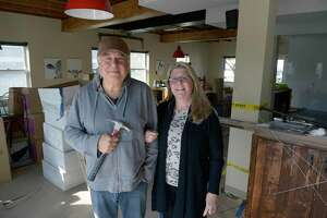 Mitch and Diane Klaif are the owners of the Bagle Barn, located ion the Red Barn building on Danbury Road. Wednesday, October 20, 2021, in New Milford, Conn.