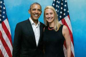 Caroline Simmons poses with President Barack Obama. Simmons, who is running for mayor of Stamford, announced Thursday, Oct. 21 that Obama had endorsed her.