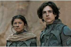 """Dune"" stars Zendaya, left, and Timothee Chalamet as well as Paul Atreides, Oscar Isaac, Duke Leto Atreides, Rebecca Ferguson, Jason Momoa, Josh Brolin, Stellan Skarsgård and Javier Bardem."