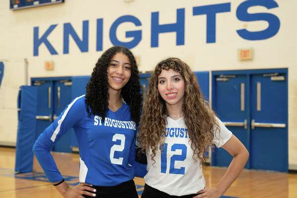 St. Augustine High School volleyball players Aryana Ledet and Kelly Samano gather for a feature photo, Wednesday, Oct. 20, 2021 at St. Augustine High School Wellness Center.