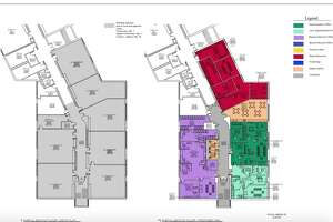 Floorplans from a study by Silver / Petrucelli & Associates that show where new district administrative offices would be located if they were to be moved to Sarah Noble Intermediate School. The move and modifications would cost around $4 million, per the architect's estimate.
