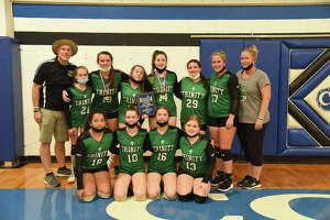 The Trinity Lutheran Edwardsville Middle School Volleyball team participated in the 31st annual Christ Lutheran Girls Volleyball Tournament. Trinity Edwardsville lost its first match of the season in a tough championship game to the host team, Christ Peoria. Lainey McFarlin and Avery Simaytis earned all-tournament team honors for their play during the weekend tournament. Trinity Edwardsville is coached by Charles McFarlin and assisted by Laura Wampler.
