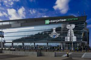 An exterior view of the Enterprise Center on September 2, 2019 in St. Louis, Missouri. (Photo by Scott Rovak/NHLI via Getty Images)