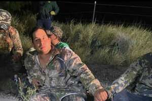 A total of 15 migrants were discovered along the Zapata and Webb County line wearing camouflage clothes and carpet along their shoes' outsoles.