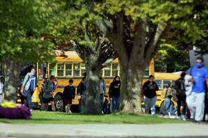 Student dismissal at Westhill High School in Stamford, Conn., on Thursday October 14, 2021.