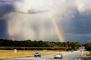 Sheets of rain were falling from the sky and forming a rainbow next to Illinois Route 143 in Wood River this week. Mother nature put on quite a show for the motorists heading eastbound into Route 143.