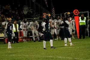 The Manistee Chippewas line up on defense against Tri-County Friday night. (McLain Moberg/News Advocate)