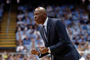 Yale head coach James Jones reacts during the first half of an NCAA college basketball game against North Carolina in Chapel Hill, N.C., Monday, Dec. 30, 2019. (AP Photo/Gerry Broome)
