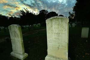 Pine Island Cemetery, supposedly graced by the ghost of Henry Workman, Friday, October 23, 2021, in Norwalk, Conn. Another haunted site is said to be the The Metro North Walk Bridge where a New Haven-bound train went off the tracks in the nineteenth century.