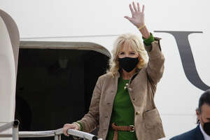 First Lady Dr. Jill Biden arrives at MBS International Airport before heading to Mount Pleasant on Sunday, Oct. 24, 2021. (Drew Travis/for the Midland Daily News)
