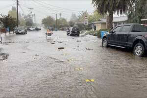 The streets of Santa Rosa were flooded on Oct. 24, 2021, amid an atmospheric river event.