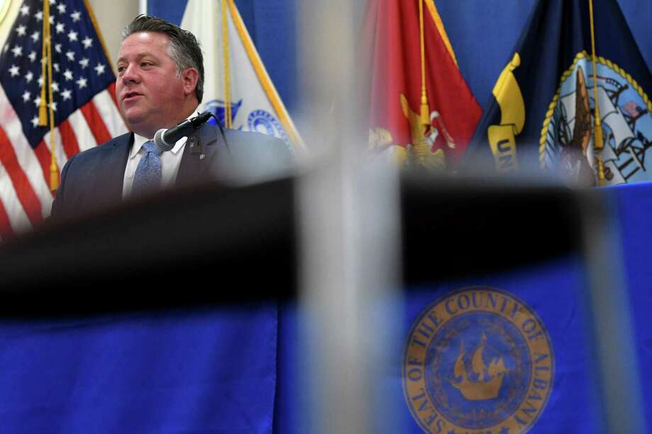 Albany County Executive Dan McCoy holds a coronavirus news briefing on Monday, Oct. 25, 2021, at the county offices in Albany, N.Y. County officials raised concerns over increasing case numbers. Photo: Will Waldron, Times Union / 40052239A