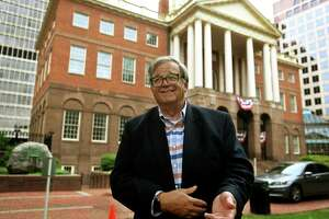 State Historian of Connecticut Walter W. Woodward outside Connecticut's Old State House in Hartfordon Thursday, June 11, 2020.