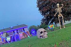 A home in Ubly known as 'Wally's Winterland of Land of Lights' for its annual Christmas lights spectacular is decked out in frightfully fun Halloween decorations this year. The home is located at 4657 Franklin St. (Mark Birdsall/Huron Daily Tribune)