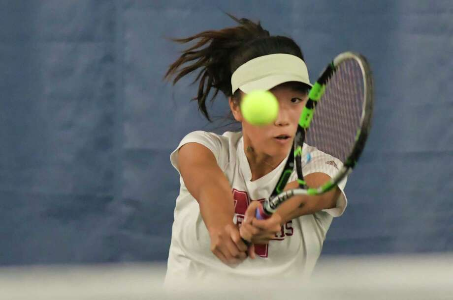 Eujeong Choi of Niskayuna returns the ball in her match against Katrina Setchenkov of Guilderland during the high school girls Section II tennis semifinals on Monday, Oct. 25, 2021, in Rotterdam, N.Y. Photo: Paul Buckowski, Times Union / (Paul Buckowski/Times Union)