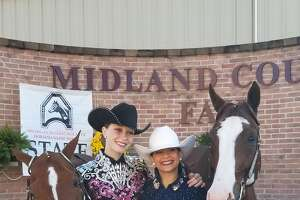 Larissa Edmondson and Shayla Tetzlaff prepare for the state finals at the Midland County Fair Grounds.