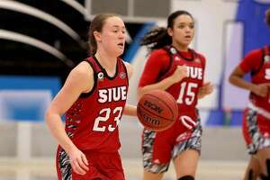 SIUE's Allie Troeckler brings the ball up the court during a game at Eastern Illinois University last season in Charleston.