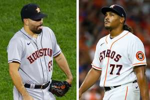 The Astros will go with Jose Urquidy (left) as the starter in Game 2 of the World Series instead of Luis Garcia.