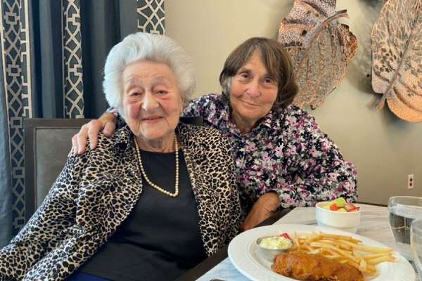 Naomi Manners Stern, right, is celebrating her 100th birthday on Oct. 27. Pictured is Stern with her daughter, Ridgefield Selectwoman Barbara Manners.