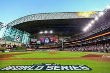 The roof is opened prior to the start of Game 2 of the World Series on Wednesday, Oct. 27, 2021 at Minute Maid Park in Houston.