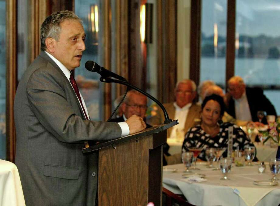 Carl Paladino, New York State Republican gubernatorial candidate speaks at the Buffalo Yacht Club in Buffalo, N.Y. on Thursday, Sept. 16, 2010. (AP Photo/Don Heupel) Photo: Don Heupel / FR48438 AP